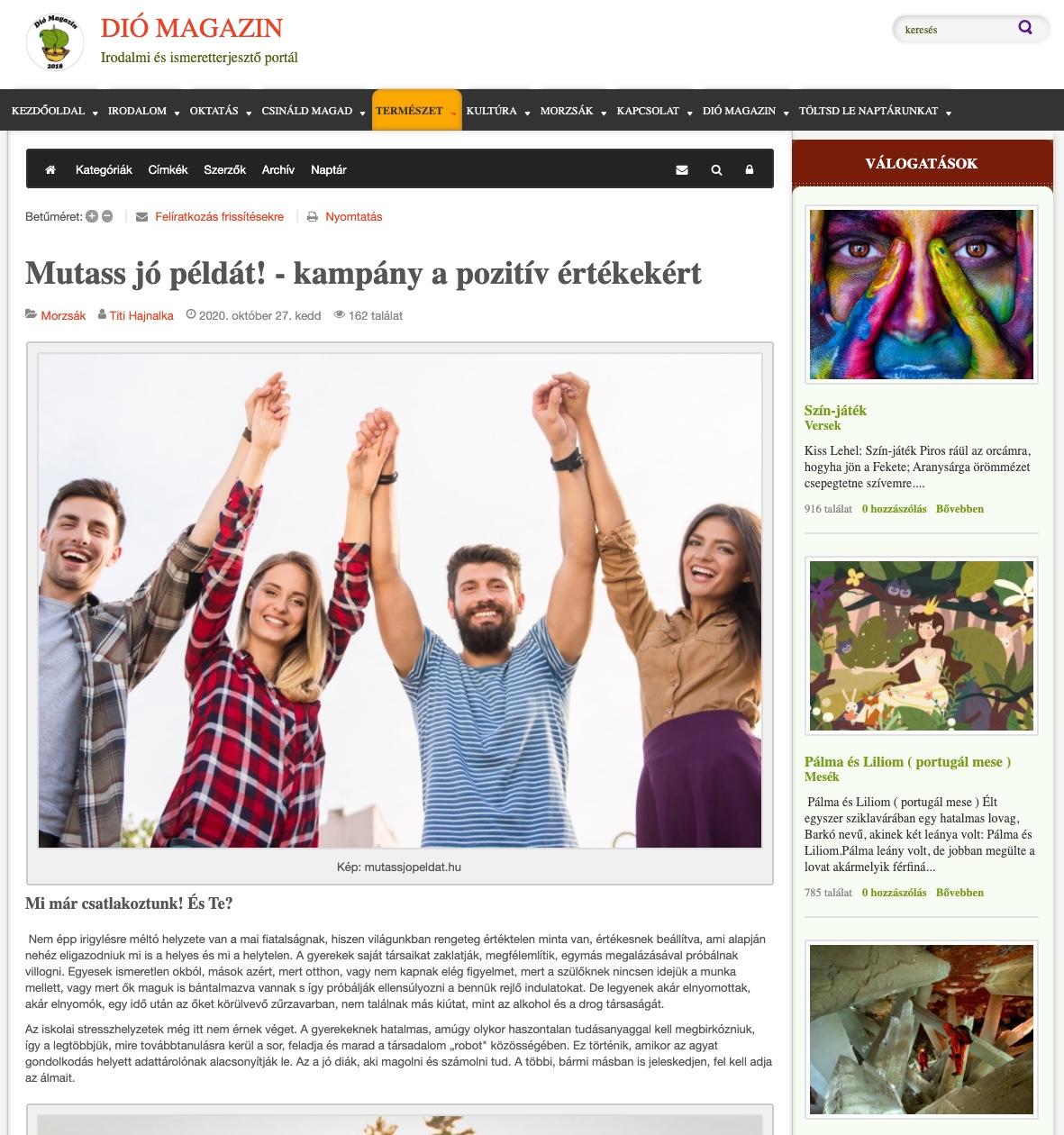Mutass jó példát kampány médiamegjelenése a Dió Magazinban